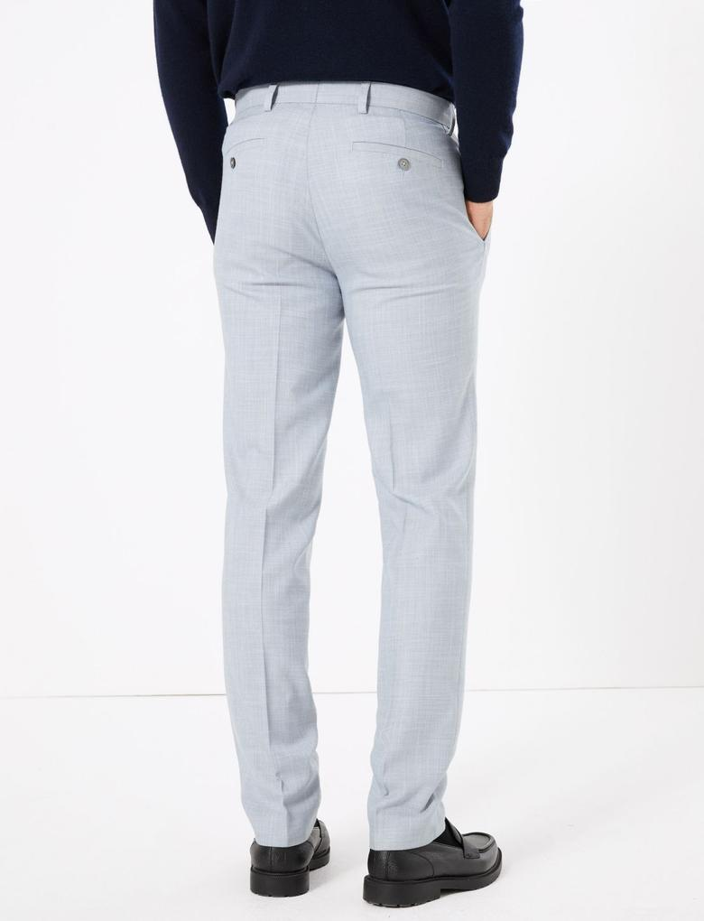 Erkek Mavi Dokulu Slim Fit Pantolon