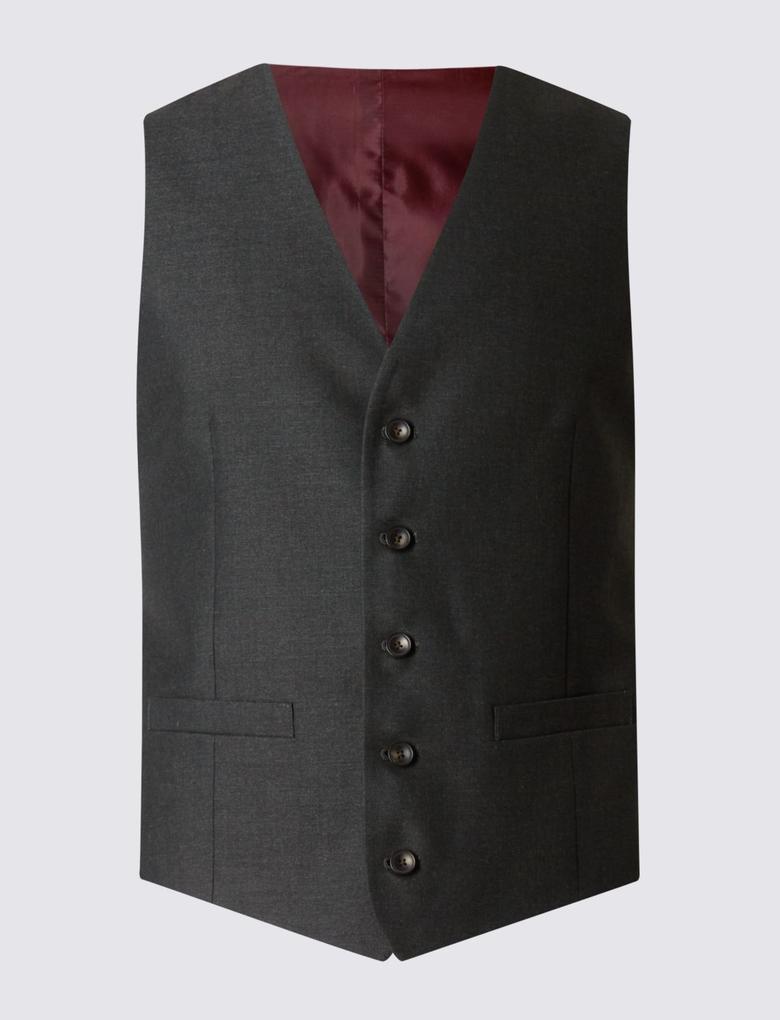 Gri Tailored Fit Takım Elbise Yeleği