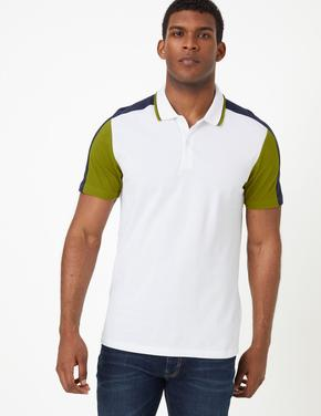 Erkek Beyaz Saf Pamuklu Polo Yaka T-shirt
