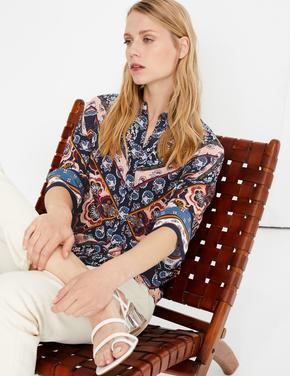 Kadın Lacivert Oversized 3/4 Kollu Gömlek