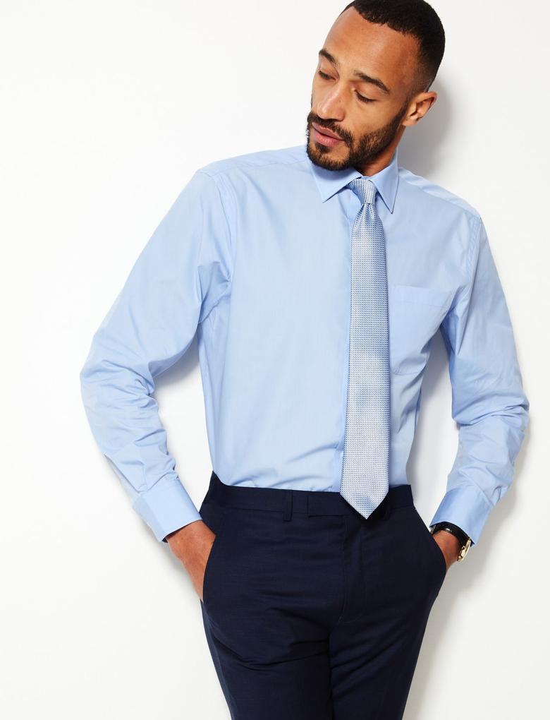 Mavi 3'lü Kolay Ütülenebilir Cepli Gömlek