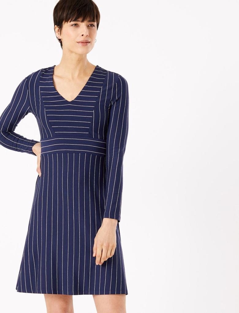 Kadın Lacivert Çizgili Fit and Flare Mini Elbise