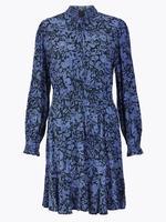 Kadın Lacivert Çiçek Desenli Waisted Mini Elbise
