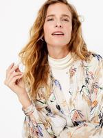 Bej Desenli Relaxed Midi Elbise