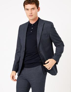 Erkek Lacivert Dokulu Tailored Fit Ceket
