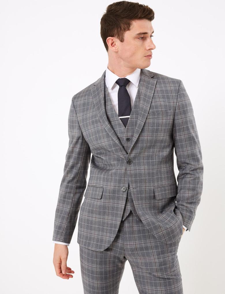 Erkek Mavi Ekose Tailored Fit Ceket