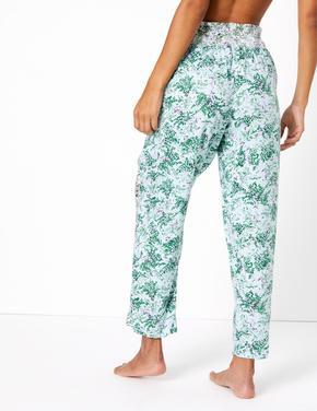 Kadın Yeşil Çiçek Desenli Pijama Altı