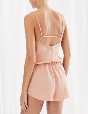 Kadın Kahverengi Saten Pijama Takımı