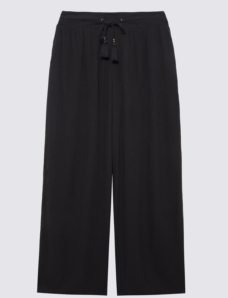 Kadın Siyah Krinkle Pantolon