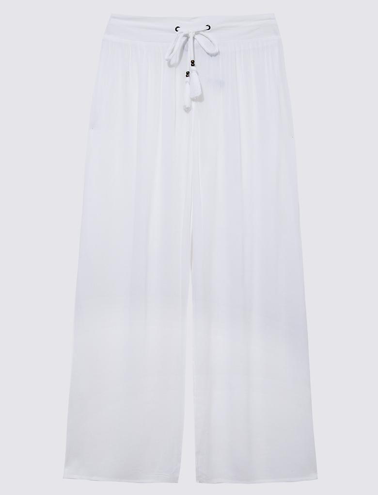 Kadın Beyaz Krinkle Pantolon