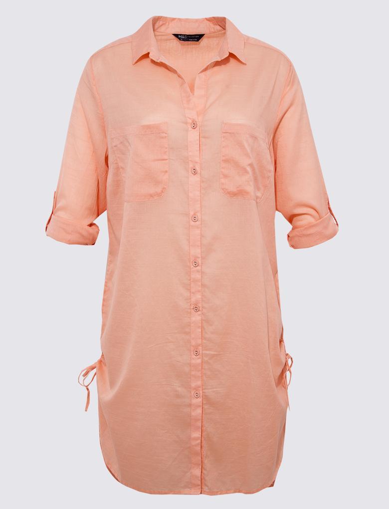 Kadın Pembe Saf Pamuklu Gömlek Plaj Elbisesi
