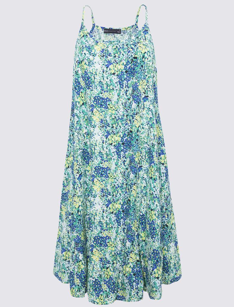 Kadın Mavi Çiçek Desenli Plaj Elbisesi