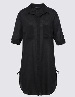Kadın Siyah Saf Pamuklu Gömlek Plaj Elbisesi