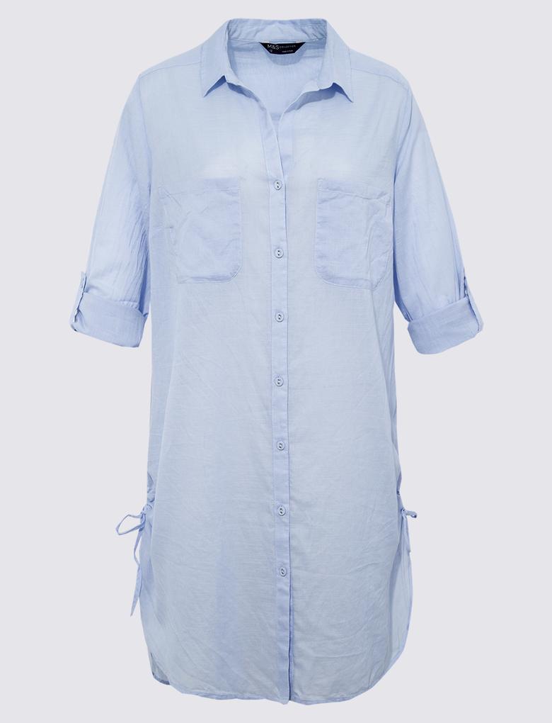 Kadın Mavi Saf Pamuklu Gömlek Plaj Elbisesi