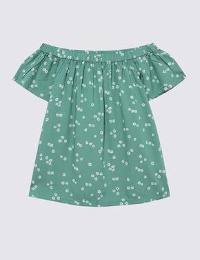 Kız Çocuk Yeşil Kısa Kollu Bluz