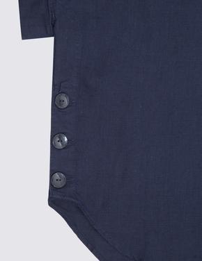 Kadın Lacivert Saf Keten Bluz