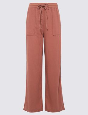 Kadın Kahverengi Keten Karışımlı Wide Leg Dökümlü Pantolon