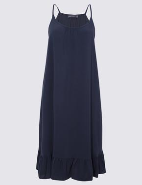 Kadın Lacivert Askılı Plaj Elbisesi