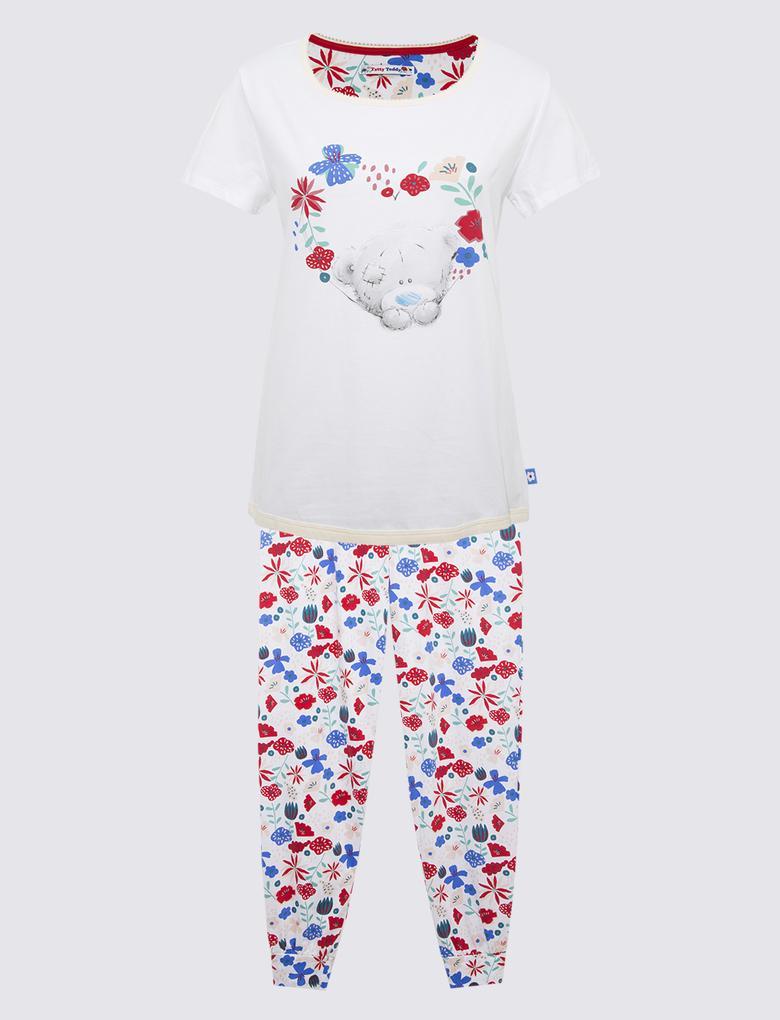 Kadın Beyaz Çiçek Desenli Pijama Takımı