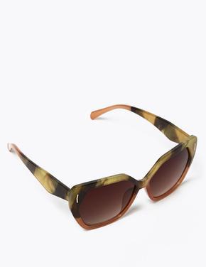Kadın Kahverengi Retro Kare Güneş Gözlüğü