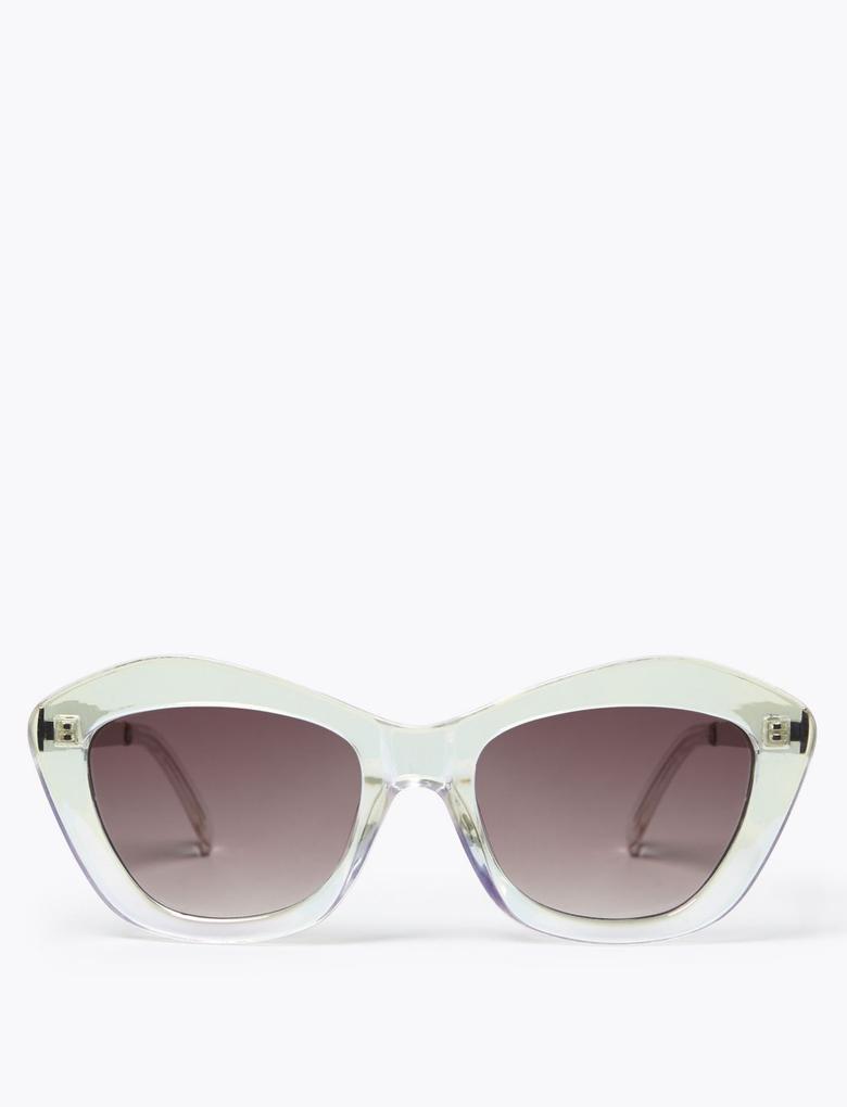 Kadın Beyaz Oval Kedi Gözü Güneş Gözlüğü