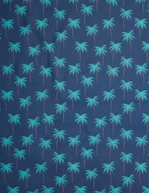 Ev Yeşil Palmiye Ağacı Desenli Mikrofiber Plaj Havlusu