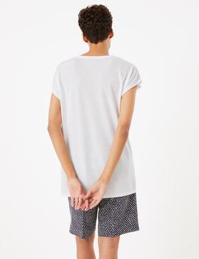 Kadın Beyaz V Yaka Relaxed T-Shirt