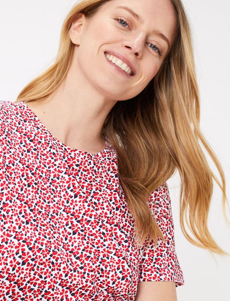 Kadın Pembe Saf Pamuklu Çiçek Desenli T-Shirt