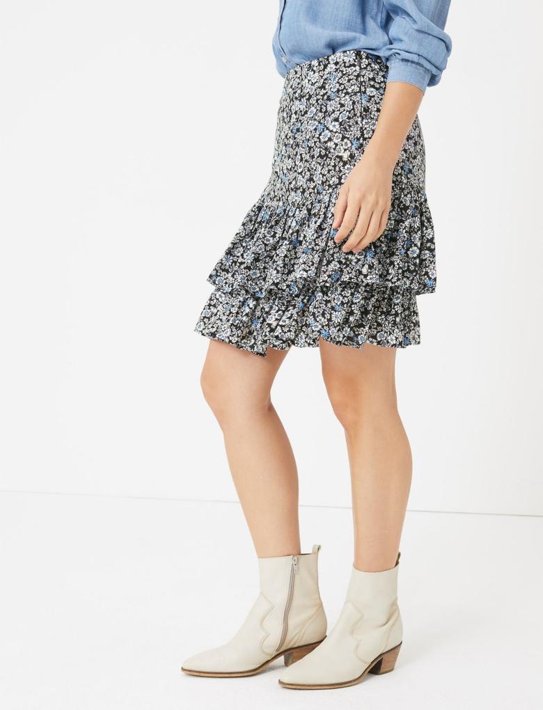 Kadın Multi Renk Çiçek Desenli Fırfırlı Mini Etek