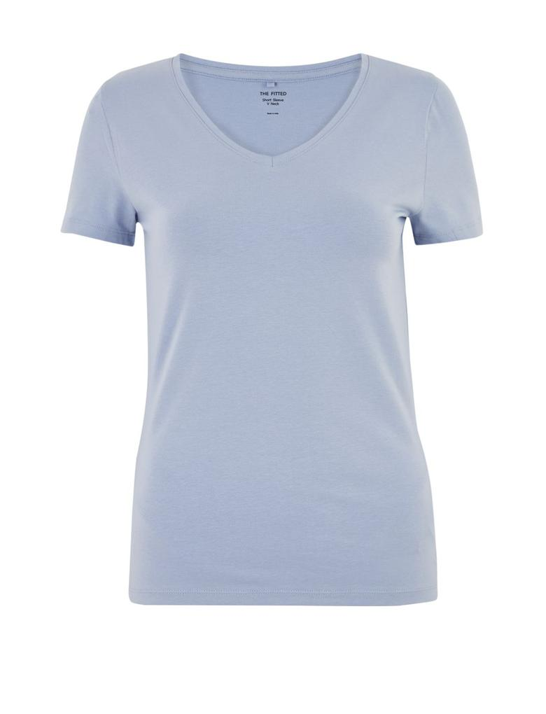 Kadın Mavi V Yaka Fitted T-Shirt