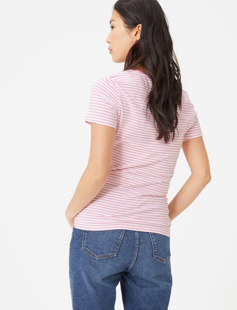 Kadın Pembe Kısa Kollu Çizgili T-Shirt