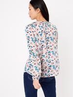 Kadın Pembe Çiçek Desenli Yakası Bağlamalı Bluz