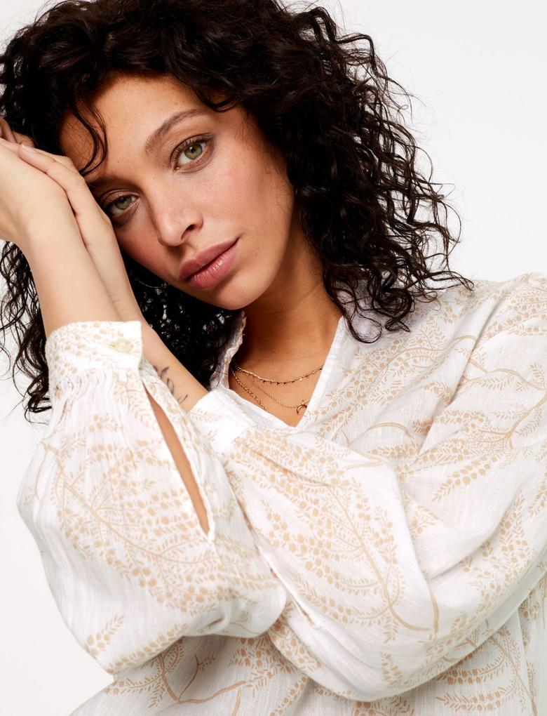 Kadın Bej Keten Karışımlı Uzun Kollu Bluz