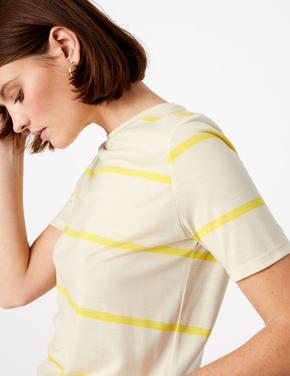 Sarı Çizgili Kısa Kolllu T-Shirt