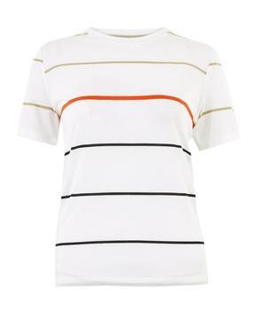 Beyaz Çizgili Regular Fit T-Shirt