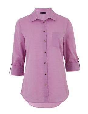 Kadın Pembe 3/4 Kollu Relaxed Gömlek
