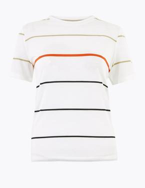 Beyaz Çizgili Kısa Kolllu T-Shirt