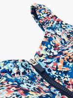 Kadın Mavi Çiçek Desenli Fermuar Detaylı Plunge Mayo