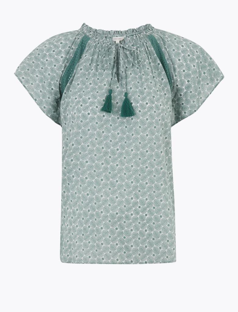 Yeşil Desenli Kısa Kollu Bluz