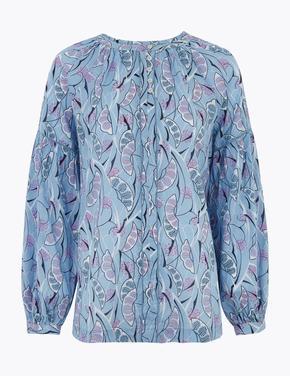 Mavi Desenli Balon Kollu Bluz