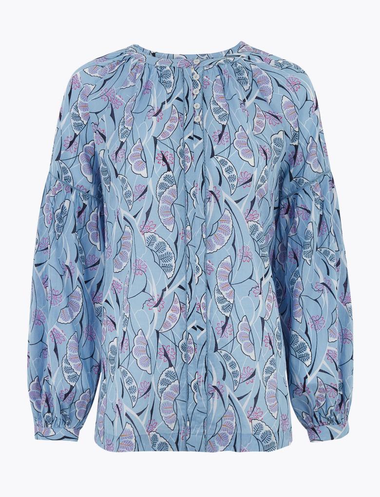Kadın Mavi Desenli Balon Kollu Bluz