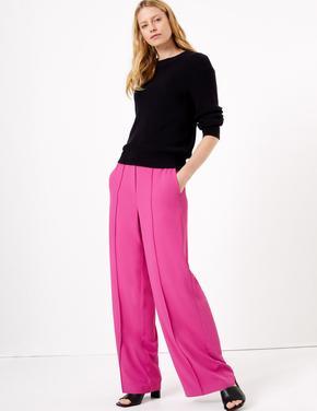 Kadın Pembe Bağcıklı Wide Leg Pantolon