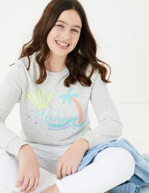 Kız Çocuk Gri Pullu Sloganlı Sweatshirt