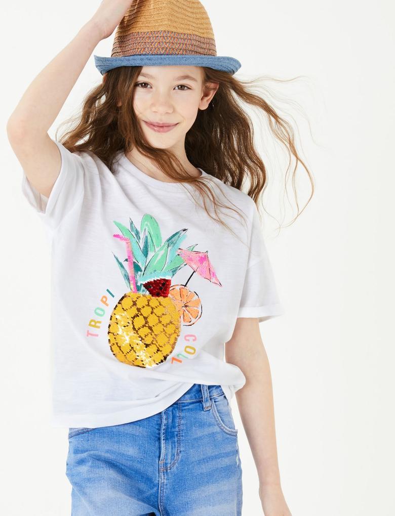 Kız Çocuk Beyaz Ananas Baskılı T-Shirt