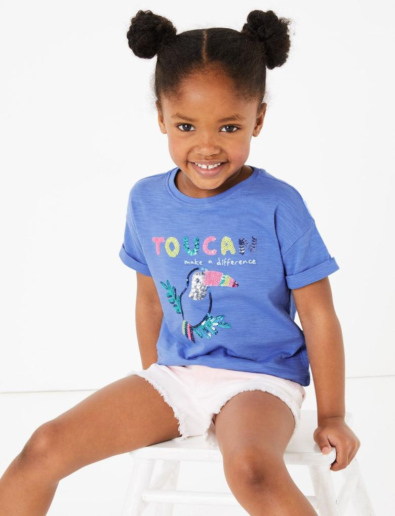 Kız Çocuk Mavi Pullu Kısa Kollu T-Shirt