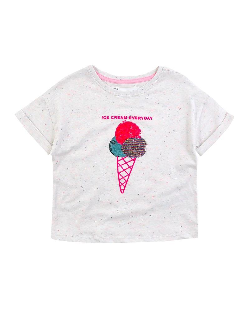 Kız Çocuk Beyaz Değişen Pullu T-Shirt