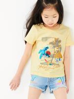Kız Çocuk Sarı Pullu Kısa Kollu T-Shirt