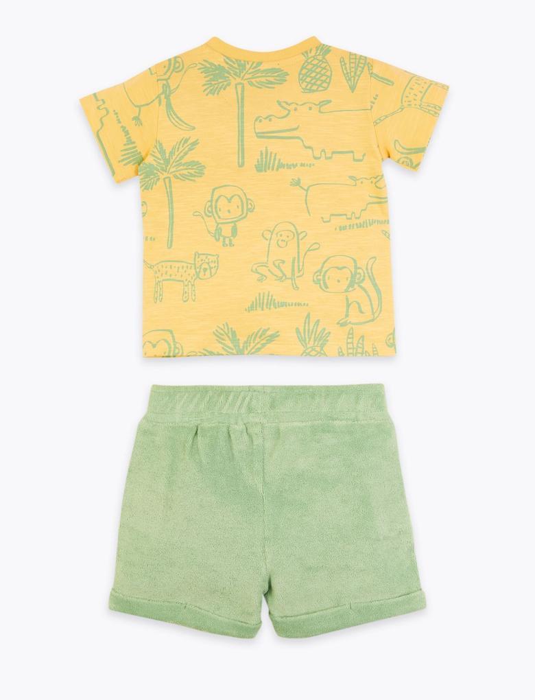 Bebek Sarı Palmiye Baskılı Takım
