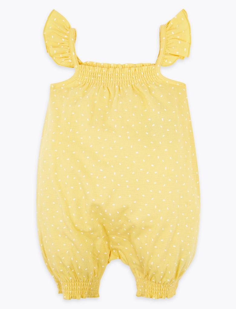 Bebek Sarı Şapkalı Bebek Tulumu