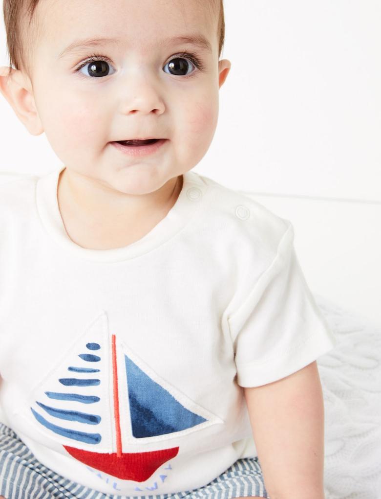 Bebek Beyaz Desenli Üst ve Alt Takım